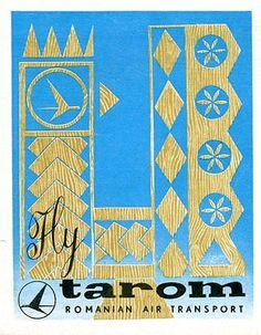 Vintage Airline Luggage Label TAROM Romanian Air wood cut folk design Retro Airline, Vintage Airline, Tarom Airlines, Luggage Labels, Vintage Travel Posters, Folk, Kids Rugs, Graphics, Image