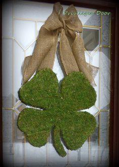St. Patricks Day Wreath - XL Moss Shamrock - Moss Covered Wood Shamrock with Rustic Burlap Bow. NEW Original.. $59.00, via Etsy.