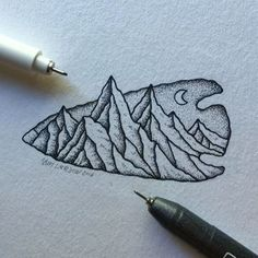 A little arrowhead mountain. Still need to darken up a few areas. #art…