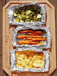 "Heavy-duty foil — what Guy calls his ""culinary duct tape"" — seals in the flavor and moisture in these simple veggie packets. Bonus: No pans to clean after dinner."