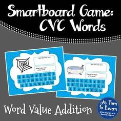 CVC Words: CVC Word Value Addition Game for Smartboard/Promethean Board!