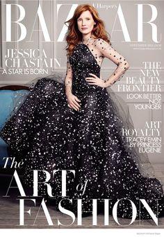 Jessica Chastain Covers Harper's Bazaar UK November 2014 in Armani Privé