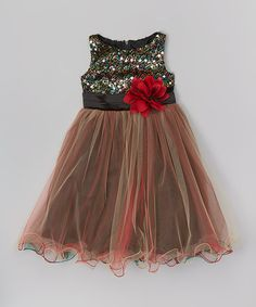 Take a look at this Red Sequin Overlay Dress - Toddler & Girls on zulily today!