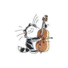 celloist Product No: - By Margaret Sherry for Penny Black Cello Art, Cello Music, Penny Black Karten, Image Chat, Penny Black Stamps, Music Painting, Cat Drawing, Whimsical Art, Art Plastique