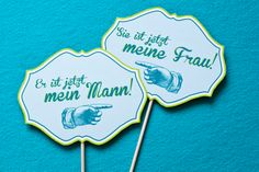 """IN GERMAN!!  Signs for our Photoshooting """"He´s my man"""", """"She´s my wife"""""""