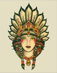 Stretched Canvas Prints, Canvas Art Prints, Indian Girl Tattoos, Dotwork Tattoo Mandala, Tatto Old, Tattoo Art, Tattoo Horse, Portrait Tattoos, Tattoo Shop