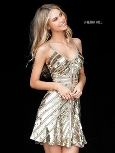 Stunning Gold Sequin  2017 Sherri Hill Homecoming Gown. Available at Bridal and Formal's Club Dress Cincinnati OH @bfclubdress (513)821-6622