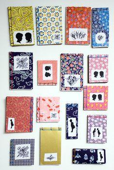 handmade silhouette books with Japanese bindings #bookbinding by Aya Rosen