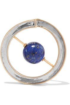 URiBE   Skylark gold and rhodium-plated lapis lazuli earrings   NET-A-PORTER.COM