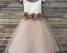 Sweet rose flower girl dress with silk flowers