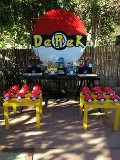 Check out this great Pokemon Go Birthday Party! Love the backdrop! See more ideas and share yours at CatchMyParty.com