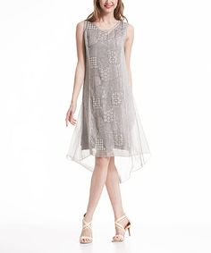 This Simply Couture Gray Lace-Accent Hi-Low Dress by Simply Couture is perfect! #zulilyfinds