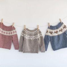 Baby Yoke Sweater E-book Baby Sweater Patterns, Fair Isle Knitting Patterns, Knit Cardigan Pattern, Knit Patterns, Icelandic Sweaters, Knit In The Round, Knitting For Kids, Baby Sweaters, Knitted Hats