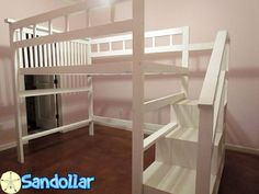 Our handmade Sandollar loft bed with cubby hole staircase. A fun spacing saving bed that will make the bedroom an inspiring place for sleep and play!  All solid wood, heavy duty stout connections, no particle board or flimsy construction. Hand built to order in Girard, Ks  can be built in twin, twin xl, full, queen and king. Cost increases with size of bed.  Contact us for delivery options as we have a limited delivery radius.  Our Assembly video: This is a queen size version, but also very…