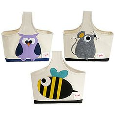 The Container Store > Critter Storage Caddy $21.99 The bumble bee and the owl for cute storage of baby things.