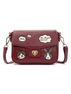 Wine Red Rabbit And Cat Embroidery Bag