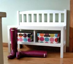 Cottage Bench with Storage Cubbies