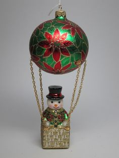 David Strand Hot Air Balloon Poinsetta Snowman Red Green K Adler Xmas Ornament…