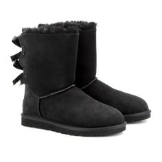 UGG Australia Bailey Bow Boots ($337) ❤ liked on Polyvore featuring shoes, boots, ankle booties, uggs, botas, chaussures, ankle boots, black, bow boots and short black boots