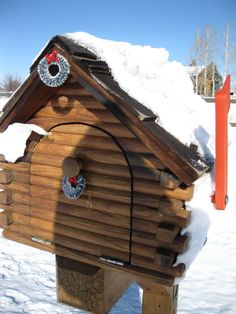 Log Cabin Mailbox With Christmas Wreath