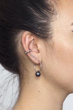 The black pearl hoops in silver pictured here with the seaweed studs and the White Topaz and Silver Treasure Cuff Fashion Earrings, Fashion Jewelry, Cleaning Silver Jewelry, Metal Fashion, Treasure Island, Natural Shapes, White Topaz, Seaweed, Precious Metals