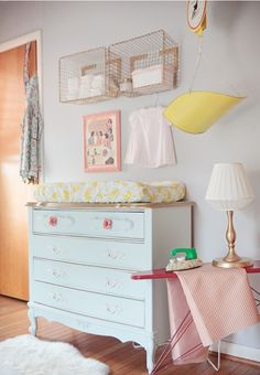 LOVE the ideas for this unconventional nursery! Lots of these things could be found while thrifting and spray painted. Inspired!