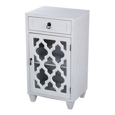 Single Drawer and Single Door Accent Cabinet with Glass Insert