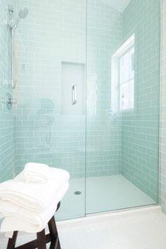 Clean Glass Subway Tile, Glass Tile Bathroom, Subway Tile Bathrooms, Subway  Tile Showers