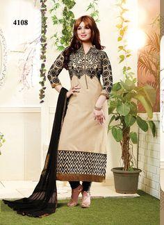 New Cream Designer Sleeve Embroidery Salwar Kameez