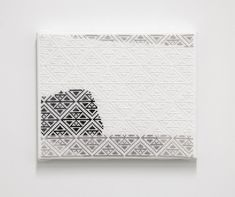 From Anat Ebgi, Jordan Nassar, A Million Birds (2016), Hand embroidered cotton on aida on canvas, 8 × 10 in