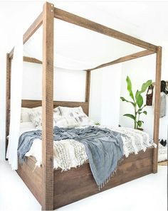 The four-poster bed symbolises romance, indulgence and luxury, which is exactly what we wanted to achieve when we designed The Majestic. Available in Rustic or Whitewash finish. Custom Furniture, Online Furniture, Bedroom Furniture, Furniture Design, Bedroom Decor, Bedroom Ideas, Wooden Bed Frames, Wooden Beds, King Bed Frame