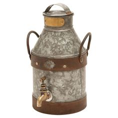 Decorative galvanized metal milk jug with banded accents.  Product: Milk canConstruction Material: Metal