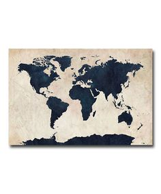 Another great find on #zulily! Navy Blue World Map Gallery-Wrapped Canvas by Michael Tompsett #zulilyfinds
