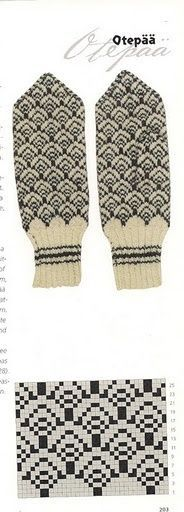 free mitten pattern / also interesting for sweater Knitting Charts, Knitting Stitches, Knitting Socks, Hand Knitting, Knitting Patterns, Intarsia Patterns, Knitted Mittens Pattern, Crochet Mittens, Crochet Gloves