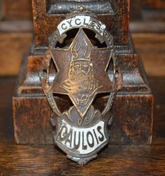 Antique French Enamel Bicycle Headbadge Le Gaulois Cycles Head Badge Brass Plaque