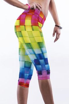 Leggings Plaid Colorful Print Yoga