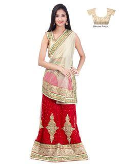 Beautiful Red Net A Line Lehenga Choli