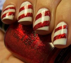 Candy Cane Nails.... Maybe just on one nail