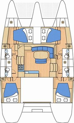 Lagoon 420 4 cabin 4 head charter layout