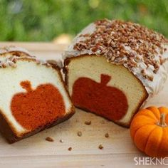 Slice into this fall-inspired pound cake with brown butter pecan icing to reveal the surprise inside – a pumpkin!