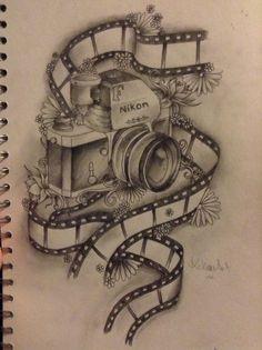 Ideas For Vintage Camera Art Design Photography - รอยสัก . Camera Sketches, Camera Drawing, Camera Art, Film Camera, Camera Film Tattoo, Cute Tattoos, Flower Tattoos, Word Tattoos, Vintage Camera Tattoos
