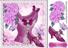 Vintage pink basque with flowers and shoes on lace 8x8 on Craftsuprint - Add To Basket!