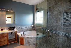 Contemporary Master Bathroom with High ceiling, Flush, Limestone counters, European Cabinets, Master bathroom, Vessel sink