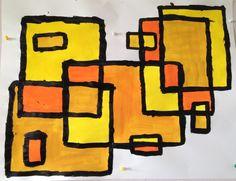 La géométrie dans l'art rectangles nuances de jaune Grande Section de maternelle