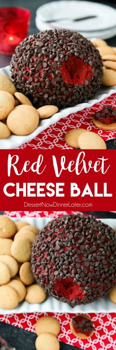 This Red Velvet Cheese Ball makes a delicious party snack or dessert. Serve it at Christmas, for Valentine's Day, or whenever. It's delicious with vanilla cookies or graham crackers. Party Desserts, Party Snacks, Dessert Recipes, Appetizer Recipes, Catering Recipes, Catering Ideas, Dessert Ideas, Christmas Cheese, Christmas Desserts