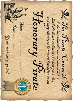 Printable Pirate Certificate: Honorary Pirate  ~Lots of super cute letters and certificates free to print!