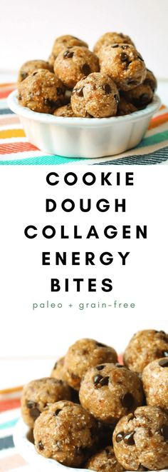 Cookie Dough Collagen Energy Bites are a healthy make-ahead grain-free and paleo snack! These have hemp and collagen for an added protein boost! Protein Breakfast, Protein Snacks, Healthy Snacks, High Protein, Paleo Treats, Healthy Breakfasts, Paleo Energy Bites, Crockpot, Smoothies