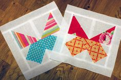 Two half triangles, check. One centered square with one corner triangle of the same fabric, check.  Butterfly block!