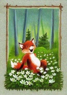 Art And Illustration, Cute Animal Illustration, Animal Illustrations, Happy Fox, Fantastic Mr Fox, Funny Drawings, Forest Friends, Funny Art, Pet Birds