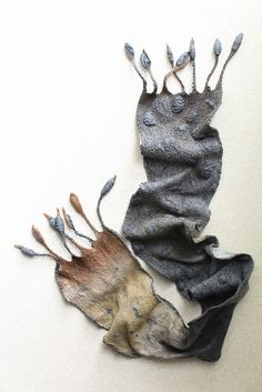 Nuno Felted Scarf by Marina Shkolnik. 50/50 15 mic. merino wool/mulberry silk, silk ponge. via FeltedPleasure on flickr